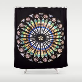 Stained glass cathedral rosette Shower Curtain