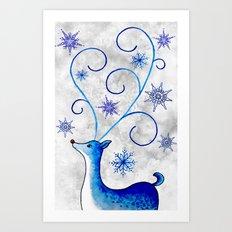 Snowflake Stag Art Print