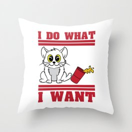 The cute & lovely Cat Tee A perfect gift for a Cat lover, pet lover & animal lovers I do what I want Throw Pillow