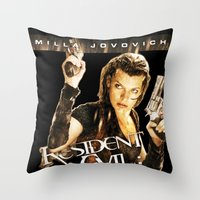 resident evil Throw Pillows featuring Milla Jovovich Resident Evil Afterlife by f3mal3s