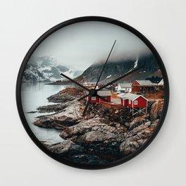 Foggy Coastal Town Seascape Wall Clock
