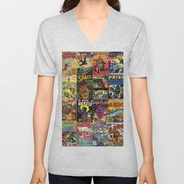 Comic Book Collage II Unisex V-Neck