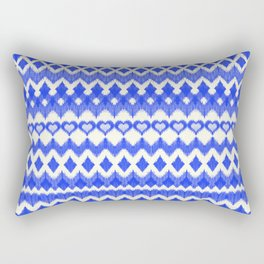 Ikat Pattern in Cobalt Blue & White Rectangular Pillow