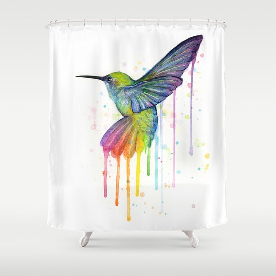 Hummingbird Rainbow Watercolor Shower Curtain