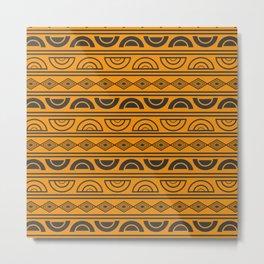Mud cloth geometry Metal Print