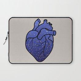 Space love / cosmic gold stars pattern on blue tattoo heart Laptop Sleeve