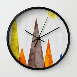 Landscape watercolor collage III Wall Clock