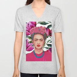 Woman with Crown of Flowers Unisex V-Neck