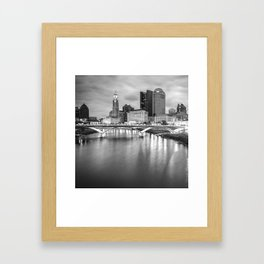 Columbus Ohio Skyline Art - Square Format Black and White Framed Art Print