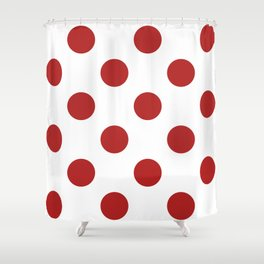 Large Polka Dots - Firebrick Red on White Shower Curtain