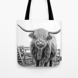 Highland Cow in a Fence Black and White Tote Bag