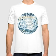 Learn to Sail White MEDIUM Mens Fitted Tee