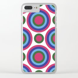 Circle Circle:  Fuchsia, Kelly Green, Turquoise + Blue Clear iPhone Case