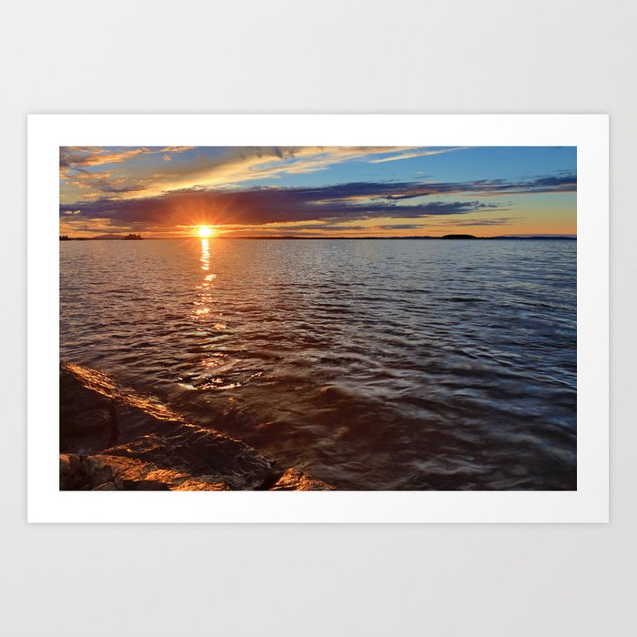 Sunset over the lake Art Print