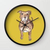 pitbull Wall Clocks featuring Pitbull by Tammy Kushnir