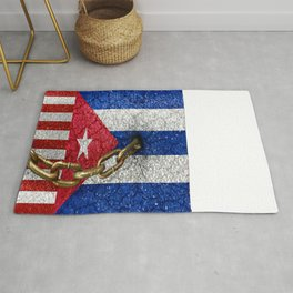 United States and Cuba Flags United Rug