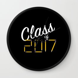 Class of Pencils 2017 White Font Wall Clock