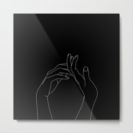 Hands line drawing illustration - Abi black Metal Print