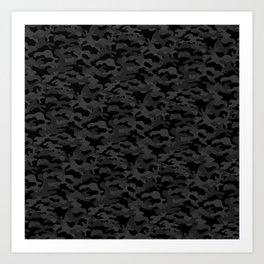 Camo Camouflage Dark Grey Art Print
