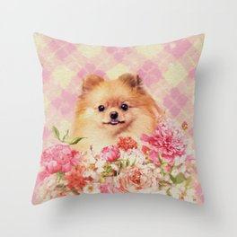Cute Pomeranian German Spitz wiht Flowers Throw Pillow