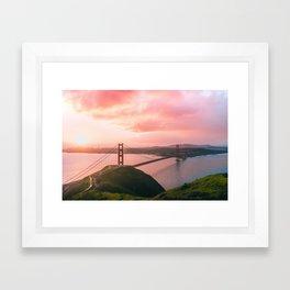 Sherbert Skies over the Golden Gate Bridge from Slackerhill Framed Art Print