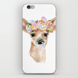 Deer Fawn Floral Watercolor iPhone Skin