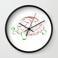 turtle Wall Clocks featuring turtle by Aata