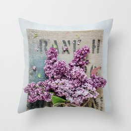 Lilac Flowers - Purple Blooms Throw Pillow