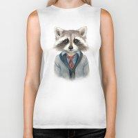 raccoon Biker Tanks featuring Raccoon by Leslie Evans