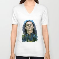 loki V-neck T-shirts featuring Loki by OnaVonVerdoux