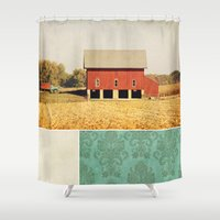 american beauty Shower Curtains featuring Heartland by Farmhouse Chic