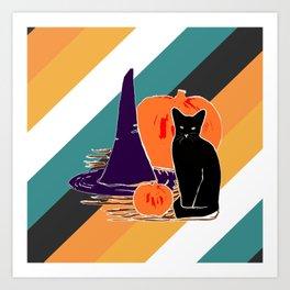 Witch Cat Pumpkin in Candy Corn Art Print