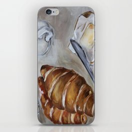 French breakfast, coffee and croissant, original oil painting, daily traditional art iPhone Skin