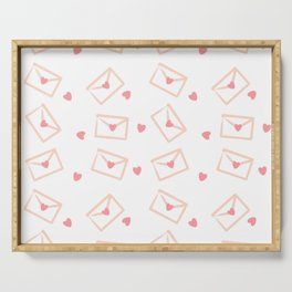 Cute cartoon hand drawn love envelopes with hearts pattern background Serving Tray