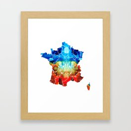 France - European Map by Sharon Cummings Framed Art Print