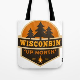 Retro Up North Wisconsin Tote Bag