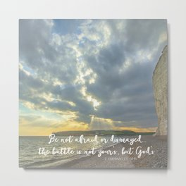 Bible Verse Typography with Ocean Sunbeams Metal Print