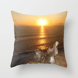 Monkey Drinking in the Sunset Throw Pillow