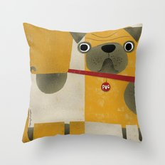 PUG WITH YELLOW Throw Pillow