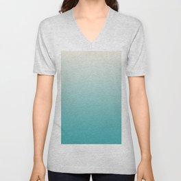Alabaster Off White Solid Color Soft Gradient Blend on Aqua Teal Turquoise - Aquarium SW 6767 Unisex V-Neck