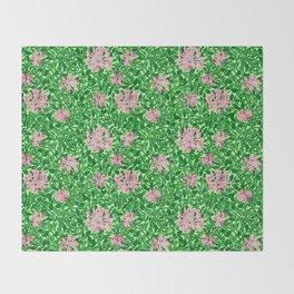 William Morris Honeysuckle, Pink and Emerald Green Throw Blanket