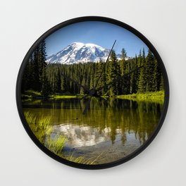 Mt Rainier from Reflection Lake, No. 3 Wall Clock