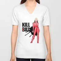 kill bill V-neck T-shirts featuring Kill Vampire Bill (Red Version) by AriesNamarie