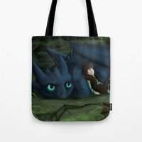 how to train your dragon Tote Bags featuring How to train your Dragon by amanda.scopel