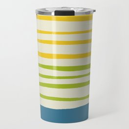 Playing with Strings - Line Art - Blue, Green, Yellow Travel Mug