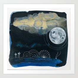 Moon Series #4 Watercolor + Ink Painting Art Print