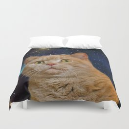 Cat staring at the universe Duvet Cover