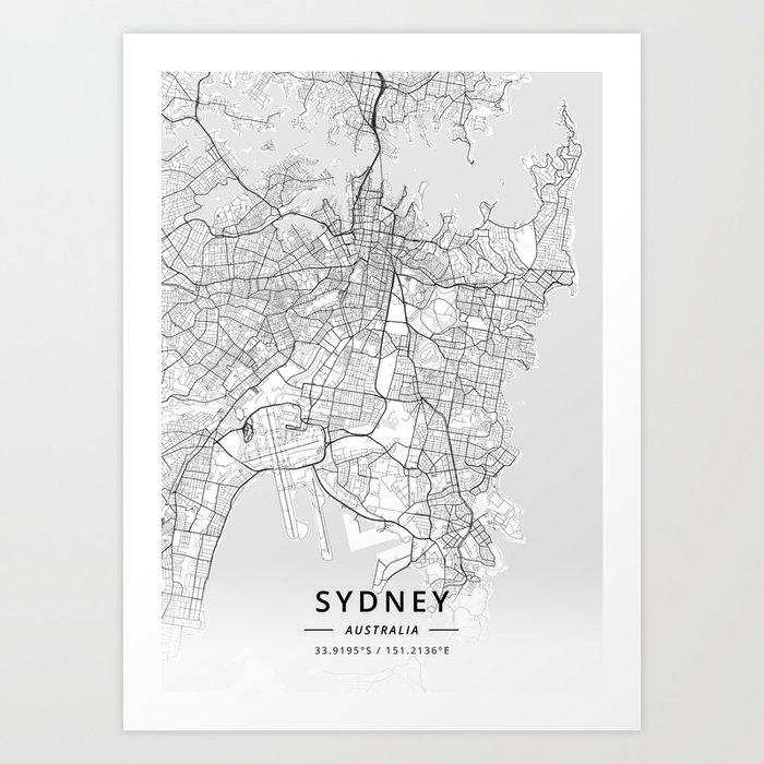Australia Map Art.Sydney Australia Light Map Art Print By Designermapart