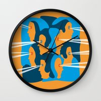 faces Wall Clocks featuring Faces by Jonathan Severin
