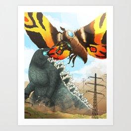 Godzilla Vs Mothra Art Print